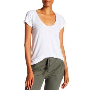 James Perse Deep Scoop Neck White T-Shirt Tee